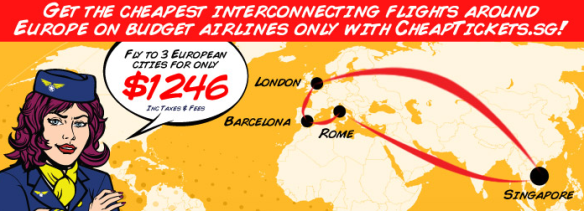 Buy internal flights in Europe from only $65 (Barcelona- Rome) at www.CheapTickets.sg