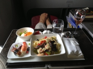 Fine dining in Qatar Airways business class