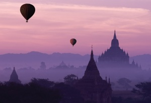 Hot balloons at dawn in Bagan, Myanmar