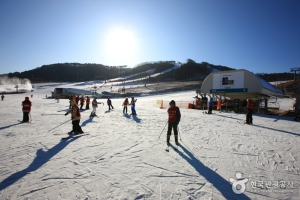 Getting ready to Ski at the Alpensia Ski Resort in Gangwon, Korea