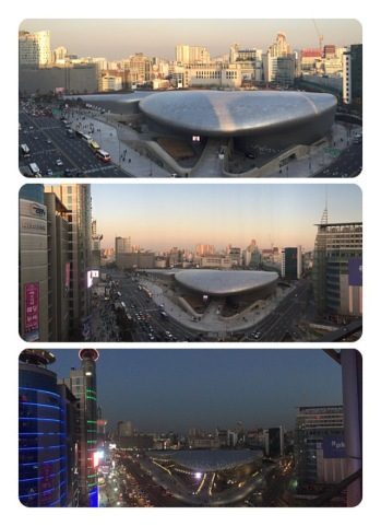 View of Dongaemun Design Plaza from K-Live balcony in the Lotte FitIn