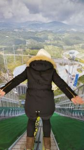 Getting ready to do a ski jump at Alpensia Resort (no this is not real, its a trick-eye)