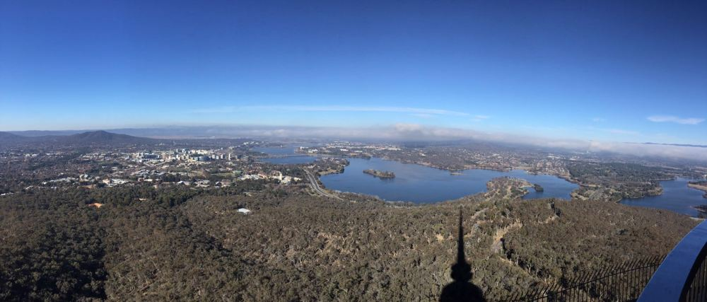 Morning panorama from Telstra Tower (See the shadow) looking down over Canberra city