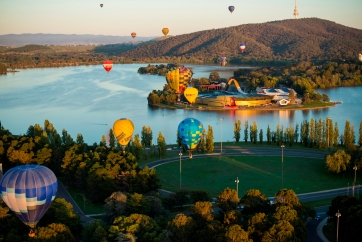 The National Museum of Australia sitting in Lake Burley Griffin during Balloons over Canberra